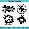 Autism Be Kind SVG, Accept Adapt Advocate Autism SVG, Autism SVG, Autism Awareness SVG, PNG, DXF, Cricut, Cut File, Clipart, Silhouette