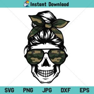 Camo Mom Skull SVG, Camo Mom Skull SVG File, Messy Bun Skull SVG, Momlife Women Skull SVG, Mom life Skull SVG, PNG, DXF, Cricut, Cut File, Clipart, Silhouette