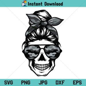 Camo Mom Skull SVG, Messy Bun Skull Mom Camo SVG, Mom Skull SVG, Mom Life SVG, PNG, DXF, Cricut, Cut File, Clipart, Silhouette