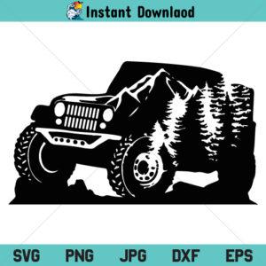 Mountain Jeep SVG, Jeep Mountain SVG, Jeep SVG, Truck SVG, PNG, DXF, Cricut, Cut File, Clipart, Silhouette