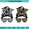 Leopard Mom Skull SVG, Messy Bun Leopard Bandana Glasses SVG, Mom Life Messy Bun Leopard Print SVG, PNG, DXF, Cricut, Cut File