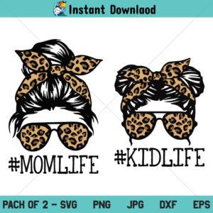Mom Life Kid Life SVG, Leopard Mom Skull SVG, Messy Bun Skull SVG, Leopard Mom SVG, Momlife Skull SVG, PNG, DXF, Cricut, Cut File