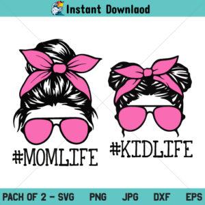 Mom Life Kid Life SVG, Mom Life SVG, Momlife SVG, Mom Daughter SVG, Mom Skull SVG, Messy Bun Skull SVG, Momlife Skull SVG, Messy Bun Hair SVG