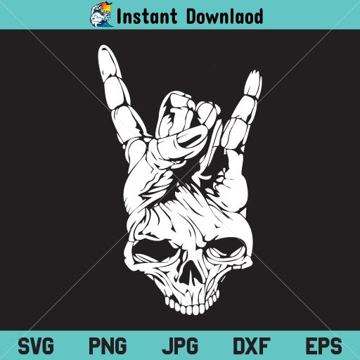 Rock Skull SVG, Rock Skull Hand SVG, Head Skull Skeleton SVG, Skull SVG, PNG, DXF, Cricut, Cut File, Clipart, Silhouette