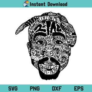 TuPac Shakur SVG, 2Pac Shakur SVG, TuPac Shakur with Bandana SVG, Rapper SVG, TuPac SVG, 2Pac SVG, 2PAC Rapper SVG, Tupac Shakur Portrait SVG, PNG, DXF, Cricut, Cut File