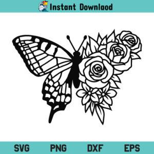 Floral Butterfly SVG File, Floral Butterfly SVG Cut File, Floral Butterfly SVG, Butterfly SVG, Butterfly Flower SVG, Flower Butterfly SVG, PNG, DXF, EPS, Cricut, Cut File