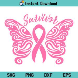 Cancer Survivor SVG, Breast Cancer Survivor SVG, Cancer Butterfly SVG, Cancer Awareness SVG, Pink Cancer Ribbon SVG, Breast Cancer Ribbon Survivor SVG, PNG, DXF, Cricut, Cut File