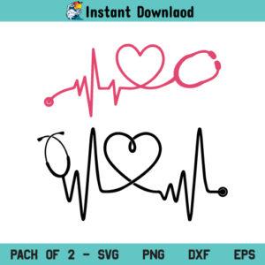 Heartbeat Stethoscope SVG, Stethoscope SVG, Heartbeat SVG, Doctor SVG, Nurse SVG, Heartbeat Stethoscope, SVG, PNG, DXF, Cricut, Cut File