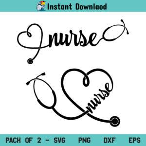 Nurse Stethoscope SVG, Nurse Heart Stethoscope SVG, Nurse Heart Stethoscope SVG Cut File, Doctor SVG, Nurse SVG, Heart SVG, Stethoscope SVG, Essential Worker SVG, PNG, DXF, Cricut, Cut File