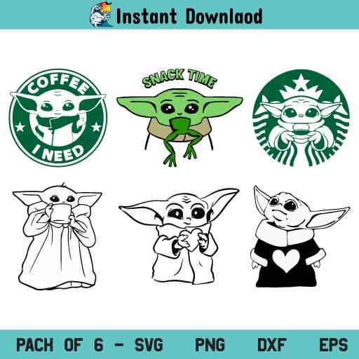 Baby Yoda Mandalorian SVG, Baby Yoda SVG, Baby Yoda SVG Bundle, Baby Yoda Face SVG, Baby Yoda SVG File, Baby Yoda Coffee SVG, Baby Yoda Coffee I Need SVG, Star Wars, Baby Yoda Starbucks SVG, PNG, Cricut, Cut File