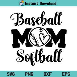 Baseball And Softball Mom SVG, Baseball And Softball Mom SVG Cut File, Baseball Mom SVG, Softball Mom SVG, Softball And Baseball Mom SVG File, Baseball Mom Softball SVG, PNG, DXF, Cricut, Cut File