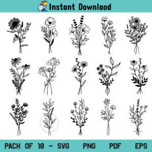 Bouquet SVG Bundle, Floral Bouquet SVG Bundle, Bouquet SVG, Floral Bouquet SVG, Flower Bouquet SVG, Bouquet Bundle SVG, Wildflower SVG, Flower SVG, Floral SVG, Bouquet, Flower, Floral, SVG, PNG, Cricut, Cut File
