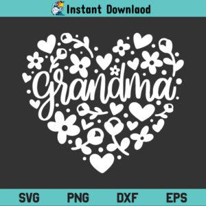 Grandma Floral Heart SVG, Grandma Floral Heart SVG File, Grandma Heart Floral SVG File, Grandma SVG, Heart SVG, Floral SVG, Flowers SVG, Grandmother SVG, Mother's Day SVG, Grandma Heart Floral, SVG, PNG, DXF, Cricut, Cut File