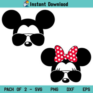 Mickey Minnie Mouse Aviator SVG, Mickey and Minnie With Aviator Sunglasses SVG, Mickey and Minnie Aviator Sunglasses SVG, Mickey Minnie Mouse Aviator Sunglasses SVG, PNG, DXF, Cricut, Cut File