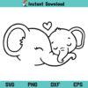 Mom Baby Elephant SVG, Mom Baby Elephant SVG File, Elephant Mama SVG, Baby Elephant SVG, Baby Shower SVG, Mom Love, Mom, Mother, Mama, Elephant, Mom Baby Elephant, SVG, PNG, DXF, Cricut, Cut File