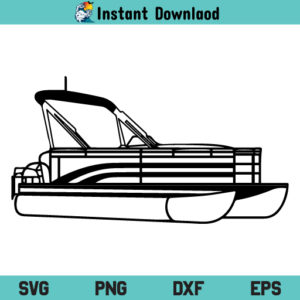 Pontoon Boat SVG, Pontoon Boat SVG File, Pontoon Boat Outline SVG, Pontoon Boat SVG Design, Pontoon Boat Files For Cricut, Pontoon Boat Cut Files For Silhouette, Pontoon Boat, SVG, PNG, DXF