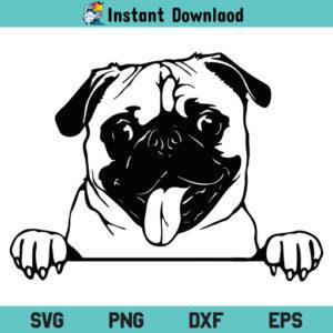Cute Pug Dog SVG, Pug Dog SVG, Cute Pug SVG, Pug SVG, Peeking Cute Pug Dog, Peekaboo Pug SVG, Cute Pug Face SVG, Cute Pug Face SVG File, Pug SVG File, Pug, SVG, PNG, DXF, Cricut, Cut File, Clipart
