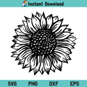 Sunflower SVG, Sunflower SVG File, Sunflower Black and White SVG, Sunflower SVG Design, Flower SVG, Sunflower PNG, Sunflower DXF, Sunflower Cricut, Sunflower Cut File, Sunflower Instant Download