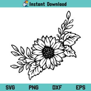 Sunflower With Leaves SVG, Sunflower With Leaves SVG File, Sunflower With Leaves SVG Design, Sunflower SVG, Leaves SVG, Sunflower Floral Border SVG, Sunflower With Leaves, SVG, PNG, DXF, Cricut, Cut File