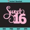 Sweet Sixteen SVG, Sweet 16 SVG, 16th Birthday SVG, Birthday SVG, Girl Birthday SVG, Sweet 16 Birthday SVG, Sweet Sixteen, Sweet 16, 16th Birthday, Birthday, SVG, PNG, DXF, Cricut, Cut File