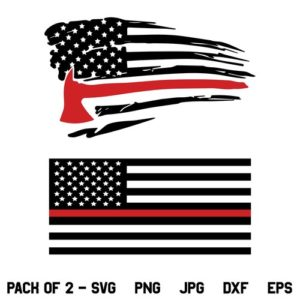 US Red Line Firefighter Axe Flag SVG, US Red Line Firefighter Flag SVG, Red Line Flag SVG, American Flag SVG, Red Line, Red Axe, SVG, PNG, DXF, Cricut, Cut File