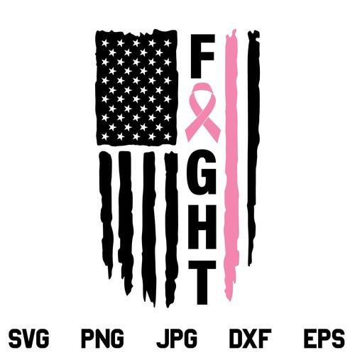 Fight Cancer US Flag SVG, Fight Cancer SVG, Cancer Flag SVG, Pink Ribbon Cancer Awareness SVG, American Flag SVG, US Flag SVG, Cancer Awareness, SVG, PNG, DXF, Cricut, Cut File