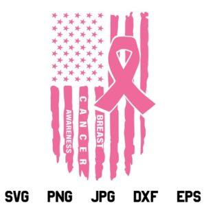 US Breast Cancer Flag SVG, Pink Ribbon USA Flag SVG, Cancer Awareness Pink Ribbon US Flag SVG, Breast Cancer SVG, Breast Cancer Awareness SVG, Grunge Flag SVG, PNG, DXF, Cricut, Cut File