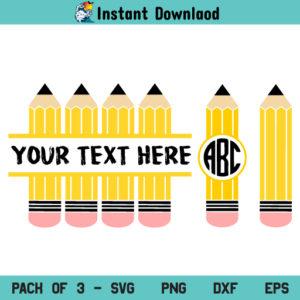 Pencil Split Monogram SVG, Pencil Monogram SVG, Pencil Name Frame SVG, School, Teacher, Pencil, Monogram