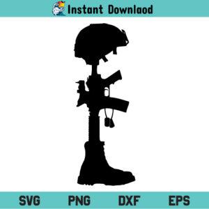 Battle Cross SVG, Military Boots SVG, Fallen Soldier Battle Cross SVG, Military Battle Cross SVG, Combat Cross SVG, US Army Veteran Gun Boots Helmet SVG