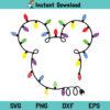 Mickey Christmas Lights SVG, Mickey Mouse head With Christmas Lights SVG, Christmas SVG, Christmas Lights SVG