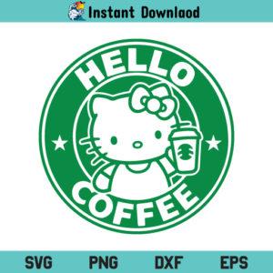 Hello Coffee SVG, Hello Coffee Kitty Starbucks SVG, Kitty SVG, Coffee Ring SVG, Starbucks Hello Coffee SVG